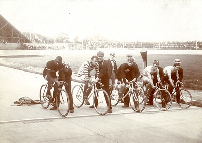 Five bicycle racers