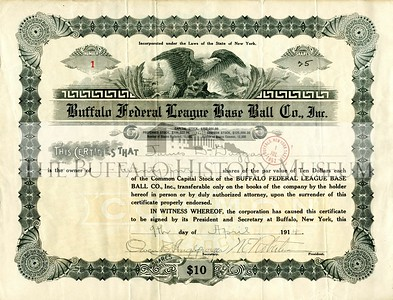 Buffalo Federal League Stock Certificate