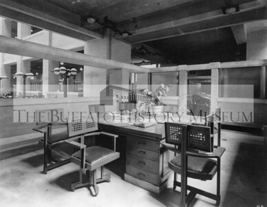 Larkin Administration Executive Offices showing desk and chairs.  Preferred Citation: Collection of The Buffalo History Museum. Larkin Company photograph collection, Picture .L37, #2-8.
