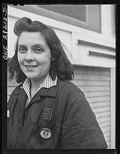 Buffalo, New York. Mrs. Grimm, a twenty-six year old widow with six children who is a crane operator at Pratt and Letchworth (note the PL on her uniform), makers of castings used for ships, tanks, etc.