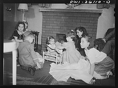 Buffalo, New York. Mrs. Grimm, a twenty-six year old widow, with six children under twelve, is a crane operator in a war plant. Her two youngest children live in a foster home during the week.