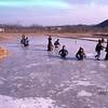 Etang gelé à Hadong (Corée du Sud); frozen pond in Hadong (South Korea)