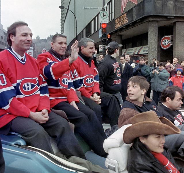 Guy Lafleur, Réjean Houle et Mario Tremblay quittent le Forum pour le Centre Bell,  1996