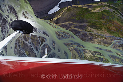 Aerial over the interior of Southern Iceland