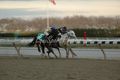 Tale of Ekati (5) is moved up from 2nd to 1st after Harlem Rocker (inside) is disqualified in the Hill N' Dale Cigar Mile at Aqueduct, November 29, 2008.  DB