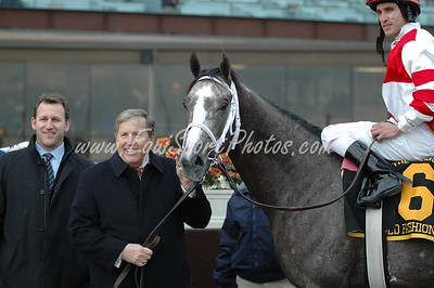Rick Porter and his Old Fashioned in the winner's circle after winning the Remsen at Aqueduct, November 29, 2008.  Ramon Dominguez up.  DB