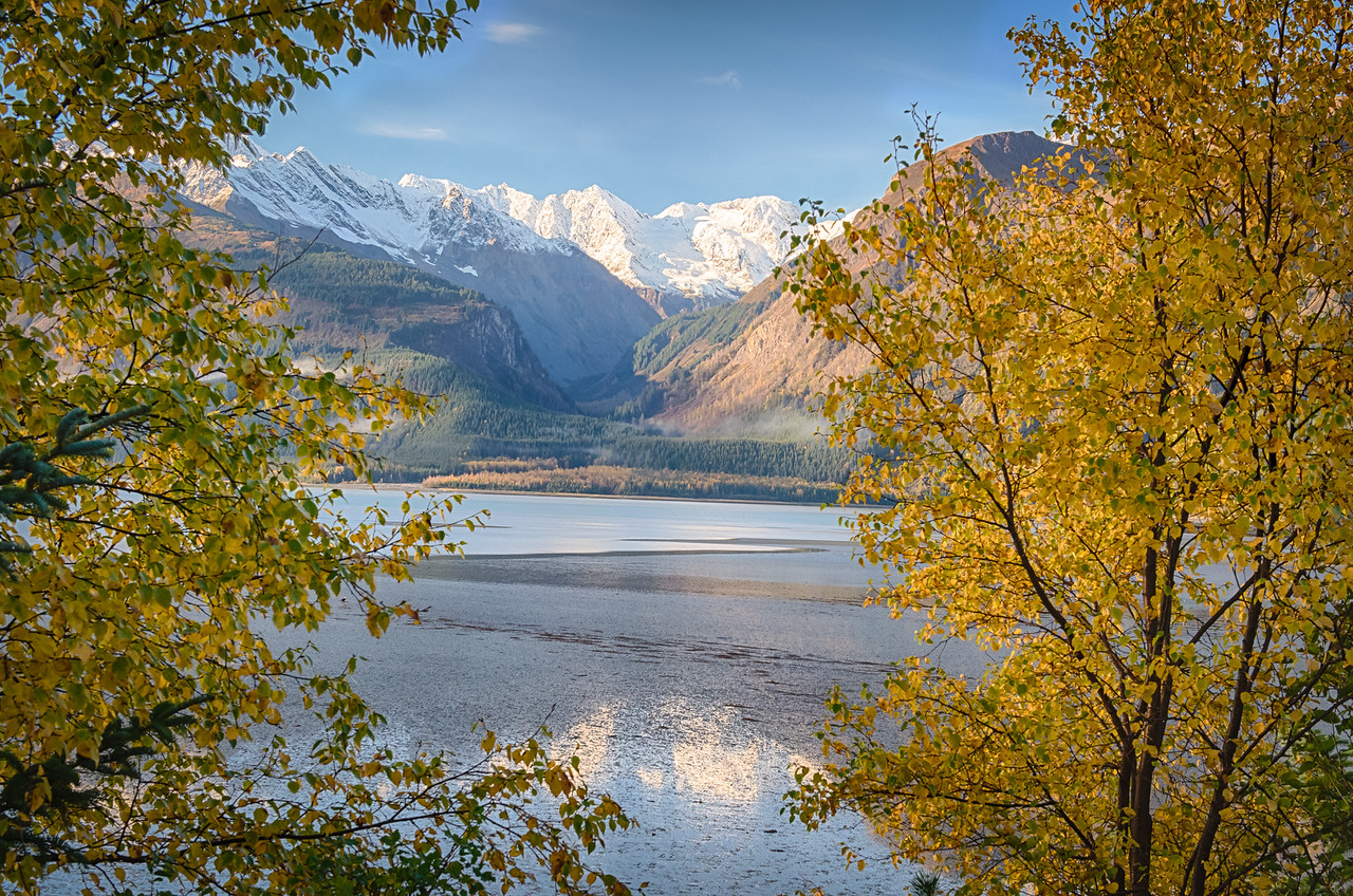 Indeed the glorious day that was promised by dawn's gracious light. God's Alley mantled in autumn. Haines, Alaska
