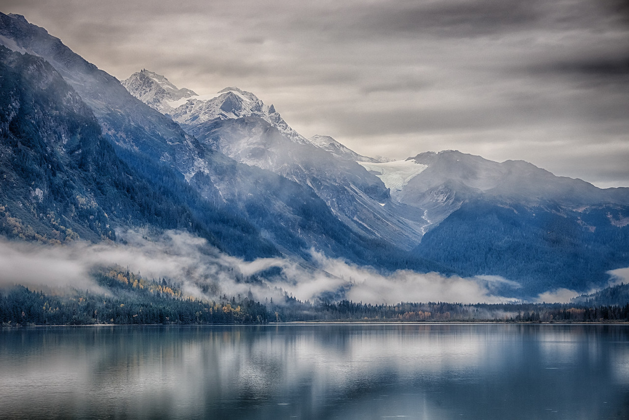 An atmospheric morning on Chilkoot Lake; Haines, Alaska