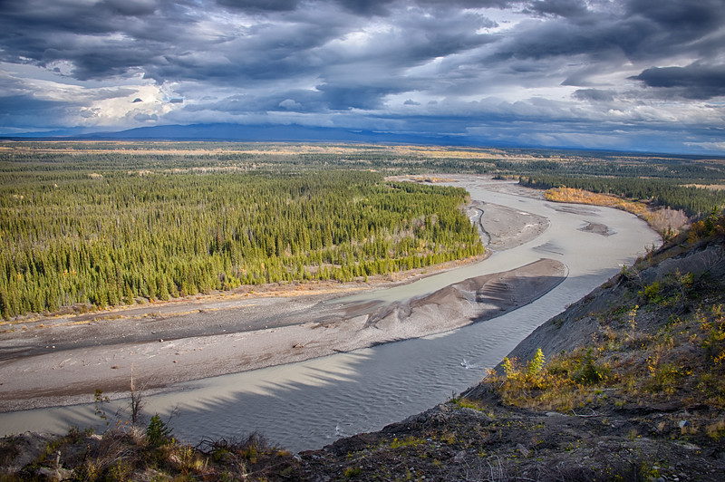 The banks of the Copper River, outside of Glenallen, where we spent the night. Wrangell St. Elias is off in the distance and under clouds. We drop into the Visitor Center and decide to make the MacCarthey Road our next trip in May.