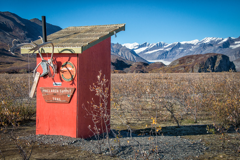 """An outhouse with a view so fine she deserved a name. She is called Allison. Our first day in, dropped off about 3:00, we set out to climb """"Big Rock"""" about a mile off for views of valley and glacier."""