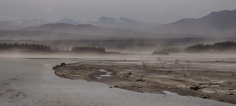 On the last day's drive, the wind was howling and really kicking up the dust along the rivers in the Yukon.