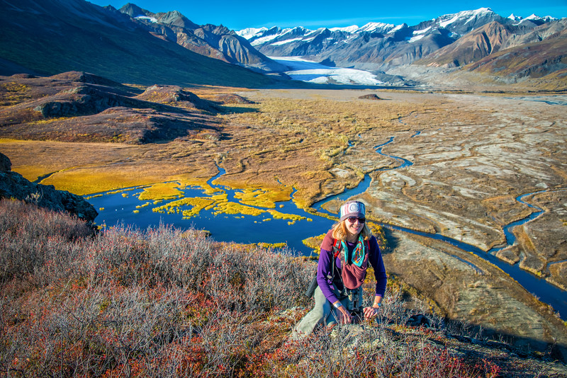Atop Big Rock overlooking Maclaren Glacier, where we hope to travel to by foot the following day. It is about four miles off, and the weather looks great. Tundra swans are posing placidly in the pond below.