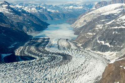 The glacier was God's great plough set at work ages ago to grind, furrow, and knead over, as it were, the surface of the earth. -Louis Agassiz  Looking down John Hopkins Inlet; Glacier Bay