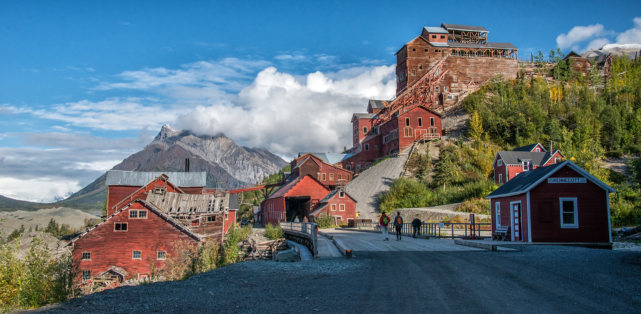 Early morning in the old town of Kennecott, with the mill and buildings in full glory. An adventure and a half lies just over the bridge spanning National Creek as we head for the Root Glacier and Erie Mine trailhead.