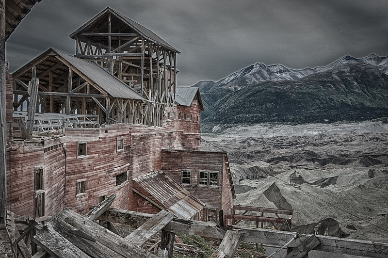 I am enjoying the pale and structured look in some of the post processing. It conveys that old and cold feeling. That IS a glacier in front of the mill. The Kennicott Glacier has its head fields on Mount Blackburn. During the operation of the mill, it rose above most of the townsite.