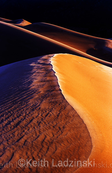 great sand dunes national park, colorado. frost and sand