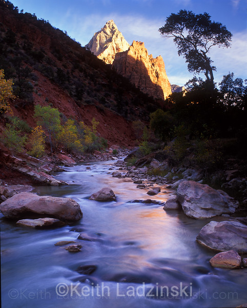 zion national park, sunset, autumn