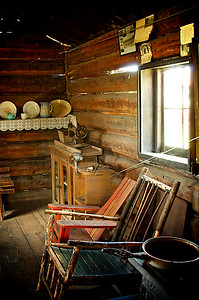 Inside a cabin in Old Molson, Washington