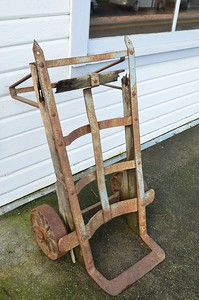 This old hand cart was on the sidewalk of Edison, WA.