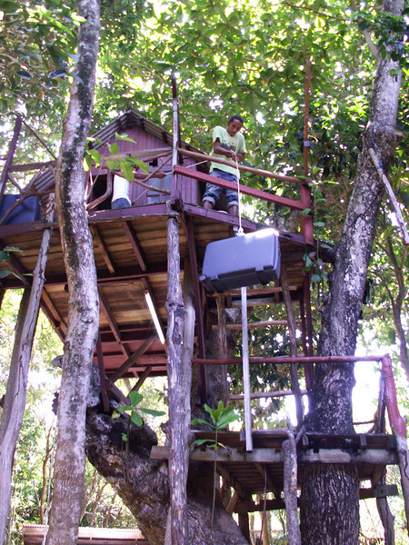 An attempt to get the suitcases up in our treehouse - Perhentian - Laggon Beach