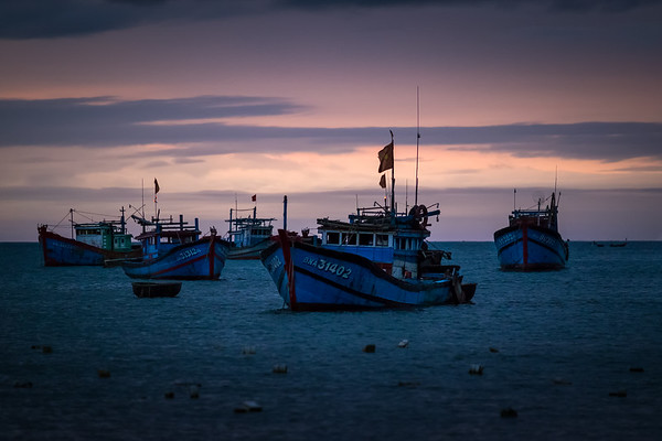 Vietnamese Fishing Boats Early Morning