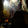 Rays Of Light Illuminating The Temple In Huyen Khong Cave