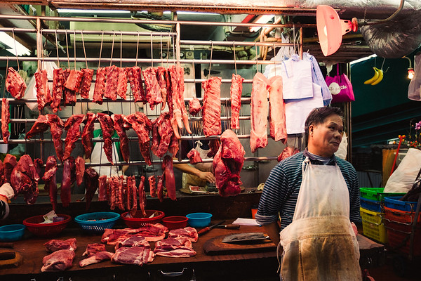 Fresh Meat At A Wet Market In Hong Kong
