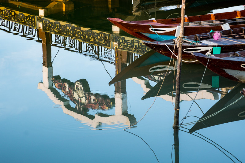 Reflections Of Boats In The Thu Bồn River