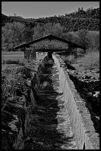 Waterway that provides the water to power the grind stone in the Grain Mill.