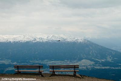 Benches, View of Innsbruck from Hafelekarspitze, mountain peak, Austria