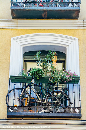 Cycle window, Madrid, Spain
