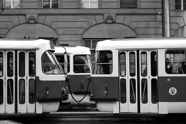 Crossing Streetcars - Prague