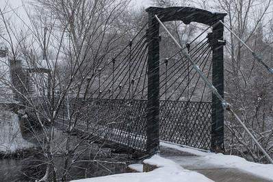 Swinging Bridge in the Snow