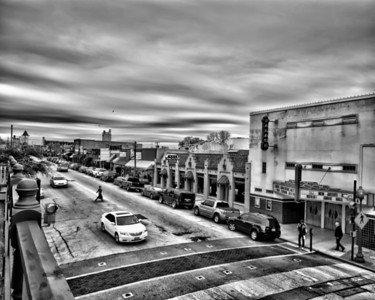 Main Street in Grapevine. Texas on an overcast winter day.