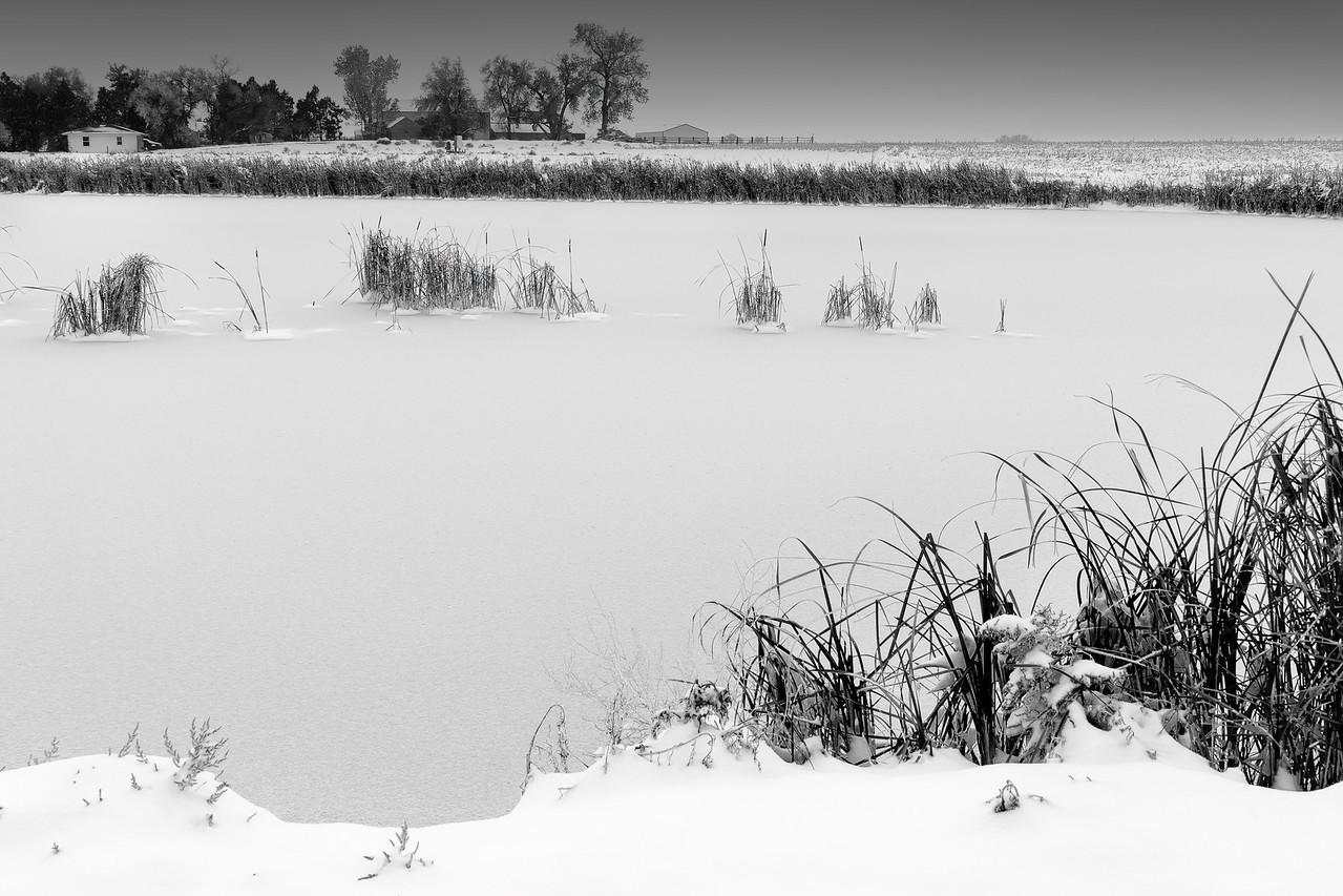 Frozen farmhouse pond #intentionallylost