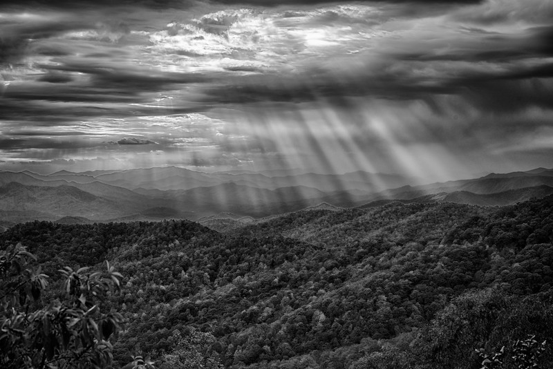 An Ansel moment enjoying a moment of celestial splendor at day's end along the Blue Ridge Parkway, overlooking the Great Smokey Mountains