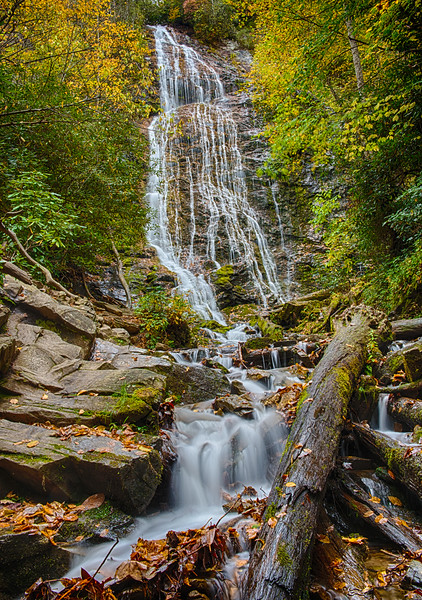 Mingo Falls, just outside the park boundary on the Cherokee reservation