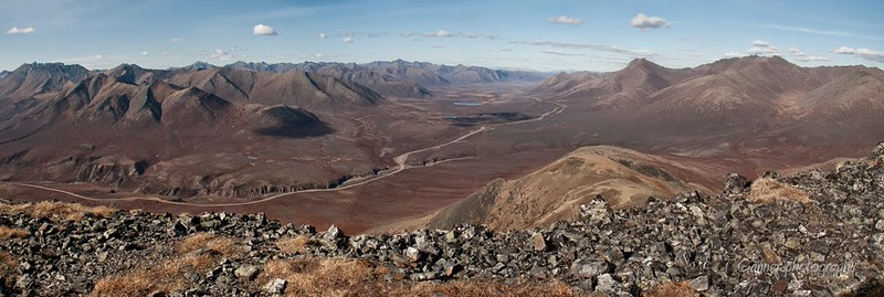 The Dempster Highway winding through the Ogilvie Mountains north of Tombstone Park