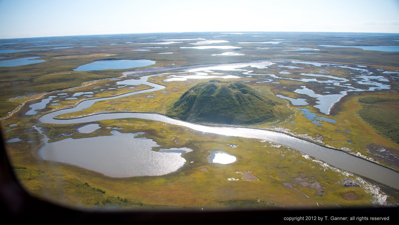 Canada's largest pingo, a landform peculiar to the permafrost country. Children of Tuk would climb this in the winter with their sleds, and see who could coast the farthest.