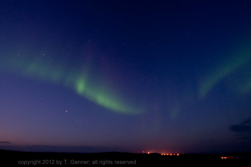 Looking south at the northern lights