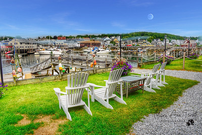 Boothbay Harbor during a full moon