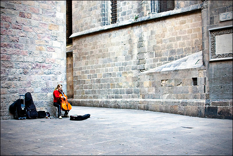 The Cellist in red sweater