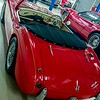 Red Austin Healy - rear view