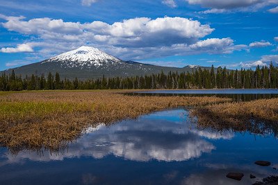 Mt. Bachelor And Clouds Reflecting In Hosmer Lake, Central Oregon Cascades