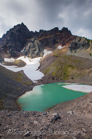 Glacial Lake In Shadow Of Three Fingered Jack, Canyon Creek Meadows, Central Oregon