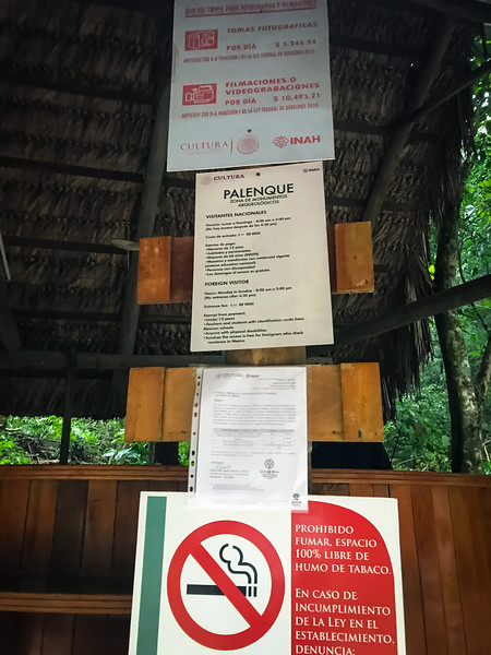 The sign warning guests against using a tripod unless you pay extra, at the Lower Entrance. Not terribly obvious as it stands about ten feet above the ground.