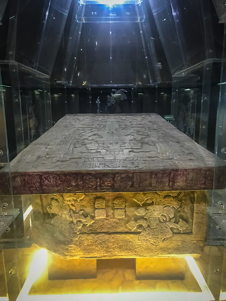 A replica of Pakal's sarcophagus in the Park museum.