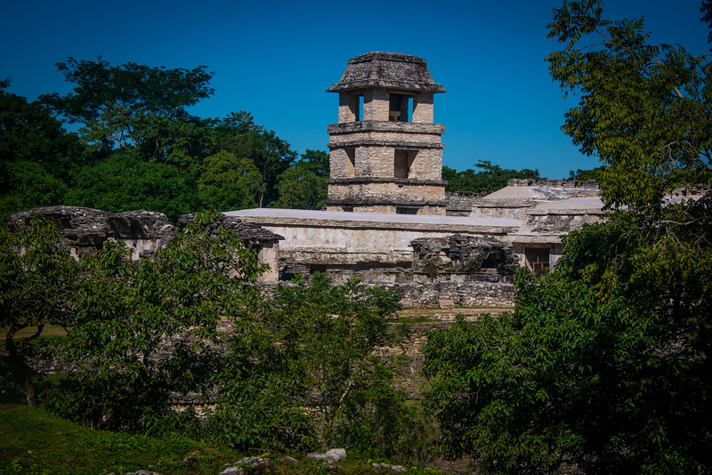 This tower is rather unique in Mayan architecture. The upper tier was reconstructed.
