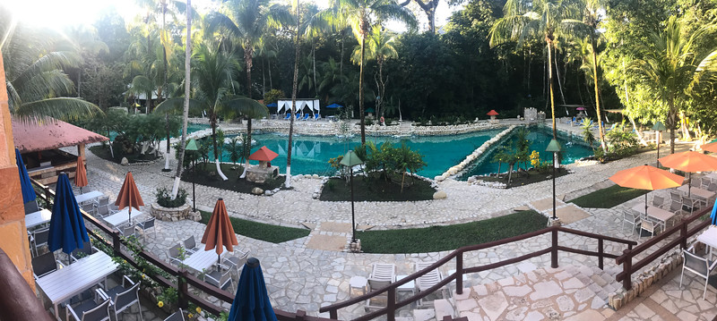 an iPhone panorama of the pool area from our breakfast seat. Not too shabby.