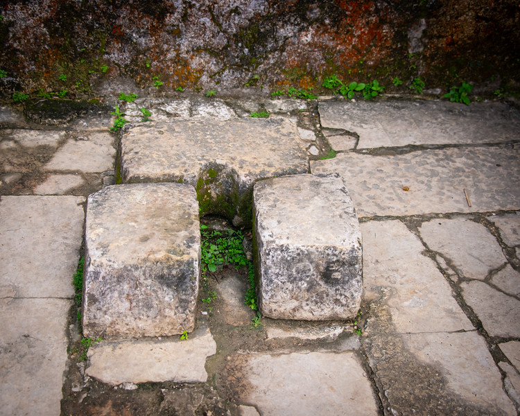 """The """"drop"""" has been filled in, but this was an old toilet. Rain would flush out the chambers below, and plumbing would deliver the effluent to planting fields."""